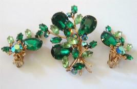Vintage Green Rhinestone Brooch Pin Earrings Set Demi Parure 50's Aurora... - $34.64