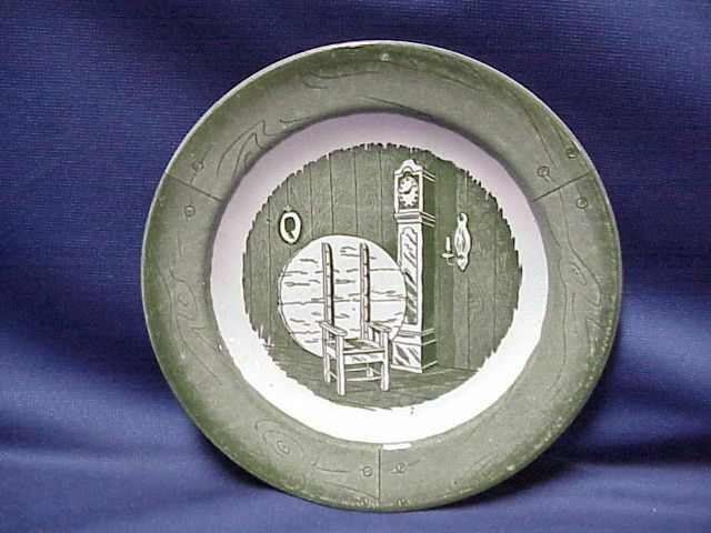 "Colonial Homestead Bread Saucer Plate 7"" Green Royal China Circa 1750 Clock - $9.40"