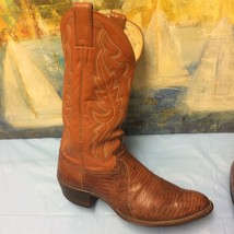 Men's Justin Brown Exotic Lizard Skin Cowboy Boots Size 10.5B # 8303 WES... - $93.49