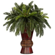 28 in. H Green Cycas with Bamboo Vase Silk Plant - $123.97