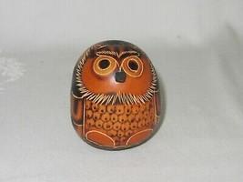 Hand Painted Etched Round Gourd Owl Bird Figurine Vtg Sm Ornament Peru F... - $29.69