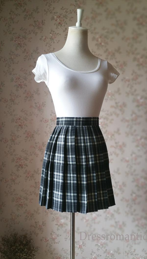 Black White Plaid Skirt Women Girl Short Black and White Tartan Skirt Plus Size image 2