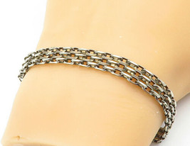 925 Sterling Silver - Vintage Three-Row Oval Link Chain Bracelet - B6848 - $33.81