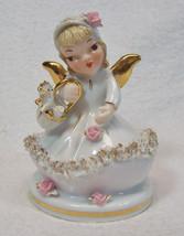 Lefton China Porcelain Angel Figurine Going To Market Spaghetti Trim Gol... - $18.99