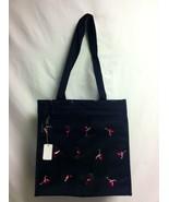 Embroidered pink flamingos black bag tote handbag purse NWT - $31.99