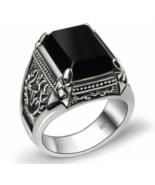 Real 925 Silver Black Zircon Ring For Men Female Engraved Flower Men - $61.99