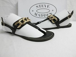 Steve Madden Size 6.5 M Betray Black Leather Sandals New Womens Shoes Be... - $78.21