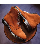 Suede Leather Brown Color Men Handcrafted High Ankle Black Sole Lace Up ... - $149.90+