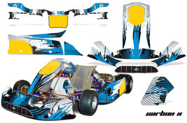 Go Kart Graphics Kit Decal Sticker Wrap For Tony Kart Venox CARBON X BLUE - $197.95
