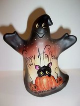 Fenton Glass Happy Halloween Ghost Figurine Black Cat GSE Ltd Ed #16/33 ... - $251.72