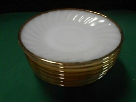 Great FIRE KING White-Gold Trim ...Set of 9 SAUCERS - $18.40