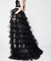 Black Detachable Tulle Skirt Tiered Open Tulle Skirt Wedding Photo Overskirt  image 2