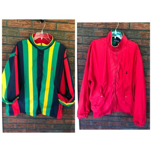 Nautica Reversible Jacket XL Red Striped Lightweight Coat Sailing Boat Vintage