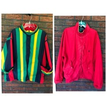 Nautica Reversible Jacket XL Red Striped Lightweight Coat Sailing Boat Vintage image 1