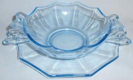 Fostoria Glass BLUE FAIRFAX PATTERN Whipped Cream Bowl w/Separate Underp... - $29.69