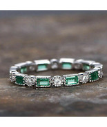 1.50ct Emerald and Diamond Full Eternity Wedding Band Ring 18k white Gol... - $74.63