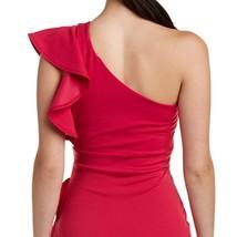 Just Me Women Fuchsia Ruffle One-Shoulder Social Dress image 4