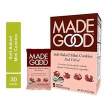 MadeGood Soft Baked Red Velvet Mini Cookies, 5 Packages 4.25 oz. ea.; Nut-Free,