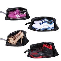 YAMIU Travel Shoe Bags Set of 4 Waterproof Nylon with Zipper for Men & Women Bla