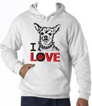 I Love Chihuahua 1 - New Cotton White Hoodie - $39.49