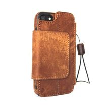 Genuine Natural leather Case for iPhone 7 wallet cover holder magnetic Brown - $54.99