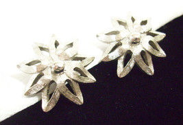 MONET Brushed Silver Plate SPIKEY FLOWER Clip on Earrings Vintage Estate... - $19.79