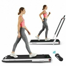 2-in-1 Folding Treadmill with Remote Control and LED Display-White - Col... - $411.52