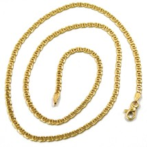 18K YELLOW GOLD CHAIN, 2.5mm, 24 INCHES, FLAT TIGER EYE LINKS, MADE IN ITALY image 1