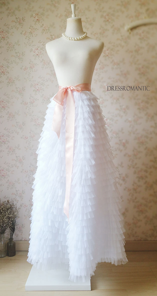 WHITE Tiered Maxi Tulle Skirts Full Length White Bridesmaid Skirt Bow-tie NWT