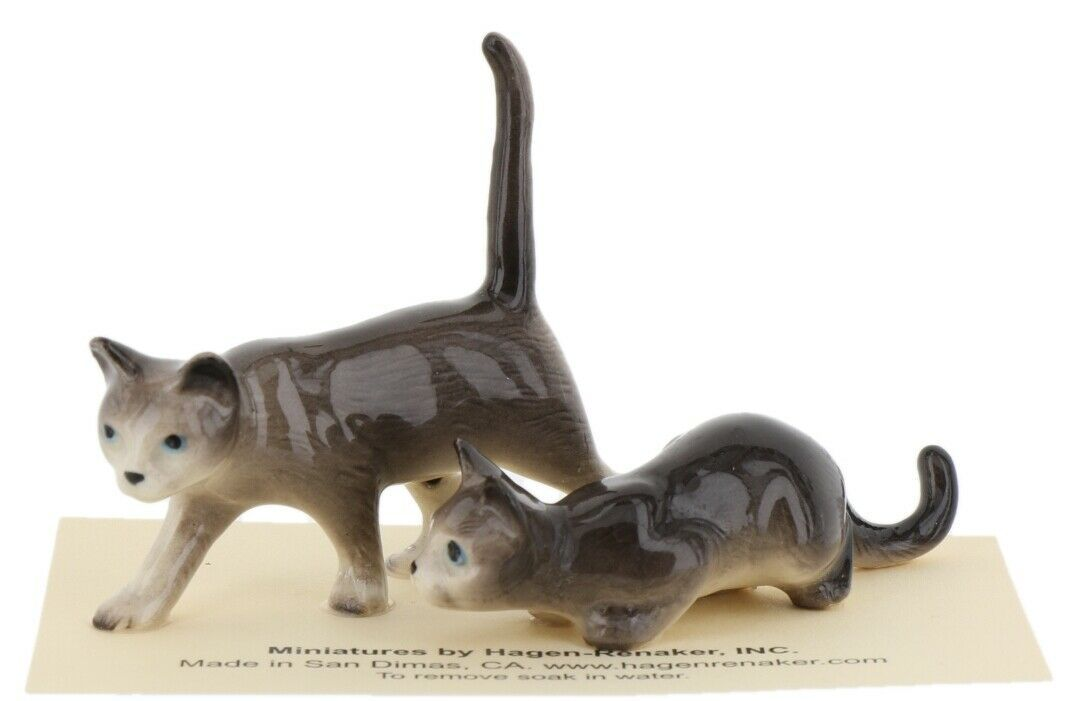 Hagen Renaker Miniature Cats Gray Walking and Crouching Figurine Set of 2