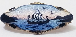 Vintage. Sterling Norway Guillocke Enamel Pin Viking Ship (E) - $69.30
