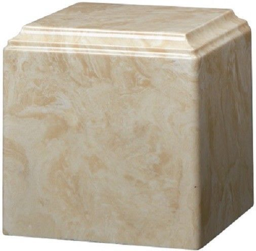 Primary image for Large/Adult 280 Cubic Inch Creme Mocha Cultured Marble Cube Cremation Urn