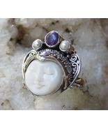925 Silver, Ox Bone, Moon Face, Sugilite, Pearl, Goddess Ring, Adjustabl... - $35.00