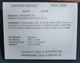 TURNTABLE STYLUS FOR Pickering D750 D-750 XV-15  XV15/750 Pfanstiehl 4606-DEG image 3