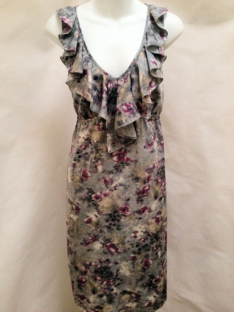 Primary image for Ann Taylor Loft 10 Dress Gray Purple Floral Ruffle V Neck Sleeveless Empire New