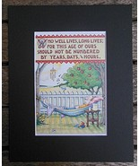 """Mary Engelbreit Print Matted 8 x 10"""" """"Who Lives Well""""  Man - $16.40"""