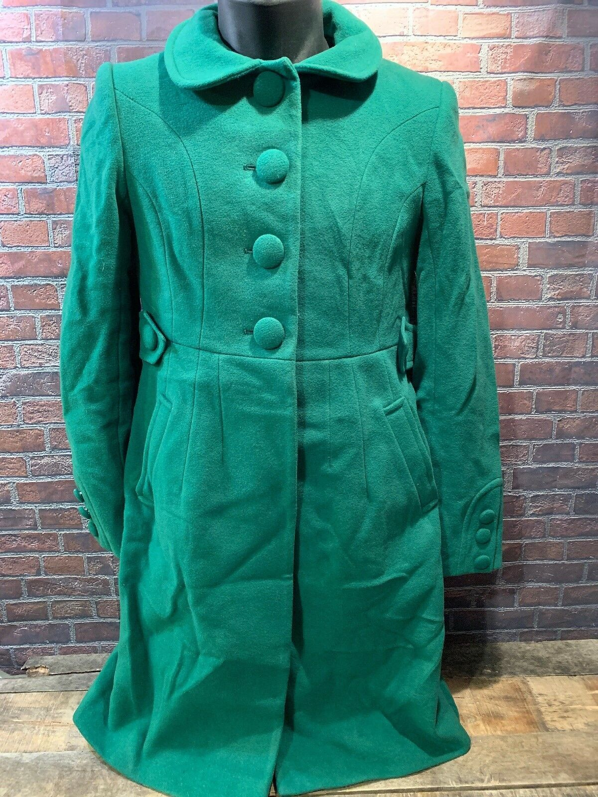 TOMMY HILFIGER Green Women's Winter Coat Size 4 Style H9457 Long Trench Full