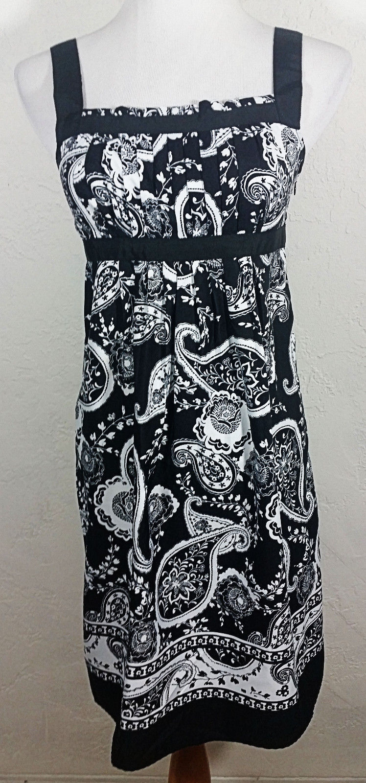 Ann Taylor Loft Womens Dress Size 4P Paisley Floral Pleated Sleeveless Party