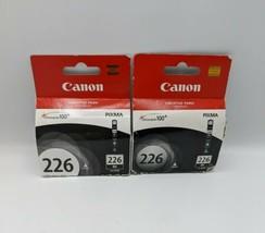 2 Genuine Canon CLI-226 Black Ink Cartridge Plus 1 Blue Cyan cartridge - $28.01
