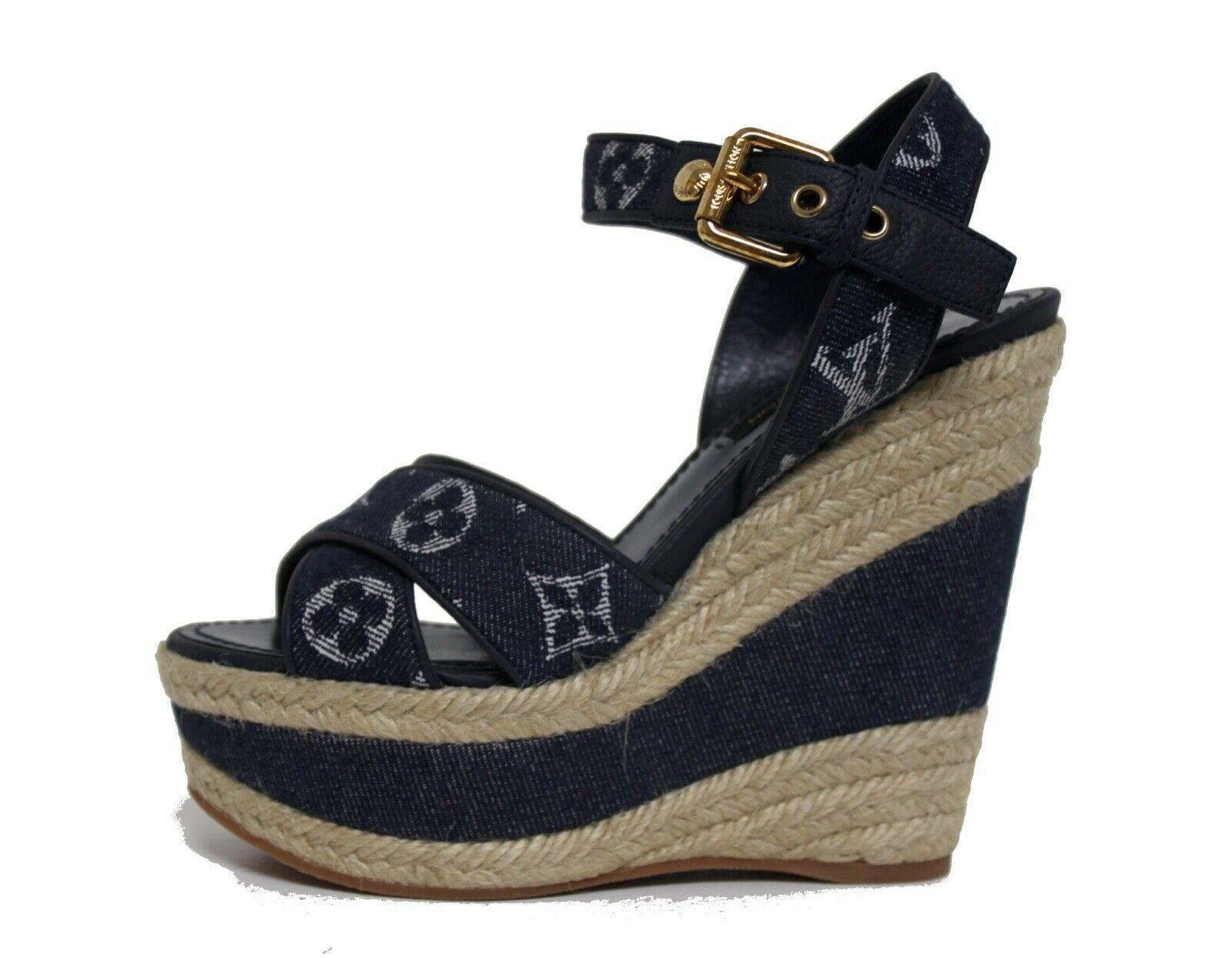 $1390 Louis Vuitton Blue New Formentera Cross Sandal Wedges Shoes Size 5 EU 35 - $978.04