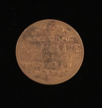 "Vintage 30s Palmolive ""Buy One Get One Free"" cake - Brass Token"