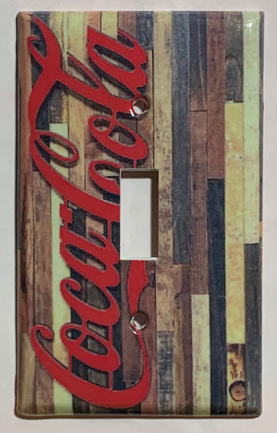 Barn Wood Coke Logo Coca Cola Light Switch Outlet wall Cover Plate Home Decor