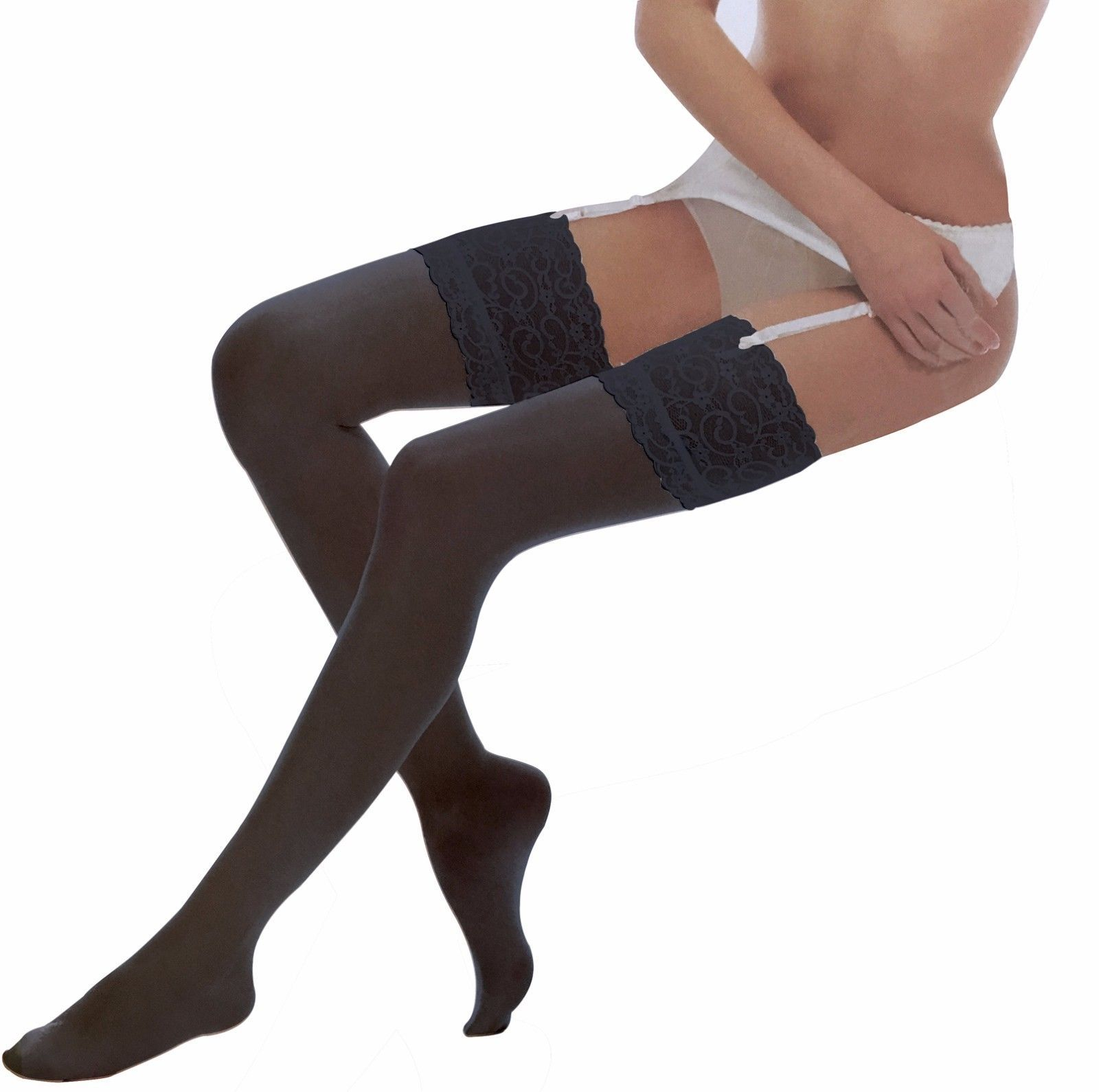 Ladies Sexy Ultra Sheer 10 Den Thigh High Over the Knee Deep Lace Top Stockings