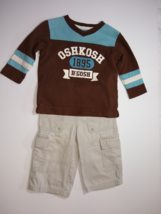 Oshkosh, Baby Boy Clothes, SZ 12 MO, Two-tone Pullover and Carpenter Pants - $13.00