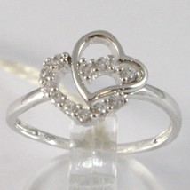 White gold ring 750 18k, dual with zirconia heart, made in Italy image 1