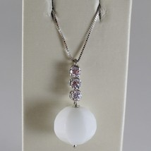 18K WHITE GOLD CHAIN NECKLACE, ROUND FACETED WHITE AGATE 6.7 CT MADE IN ITALY image 1
