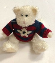 """Boyds Bears 1998-2005 Collection Red Sweater Cream Jointed Teddy Bear 11"""" - $14.69"""