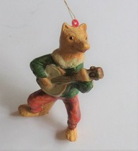 "Vintage Plastic Fox Playing Mandolin Christmas Ornament  3 1/2"" Tall - $6.90"