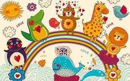 3D Tiere auf Regenbogen 88 Fototapeten Wandbild Fototapete BildTapete Familie DE - $52.82+