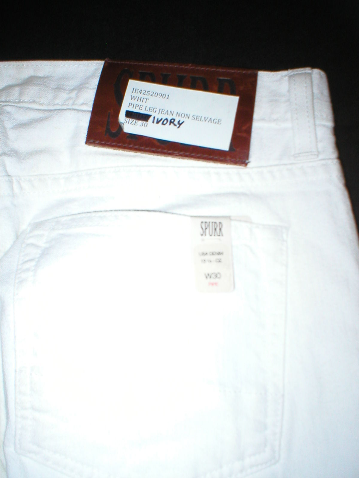 New NWT 30 x 34 Mens Designer Spurr Pipe Jeans USA White Logo Belt Patch Slim image 5